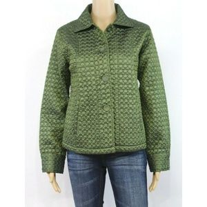Chico's Womens Quilted Jacket Coat Green Olive